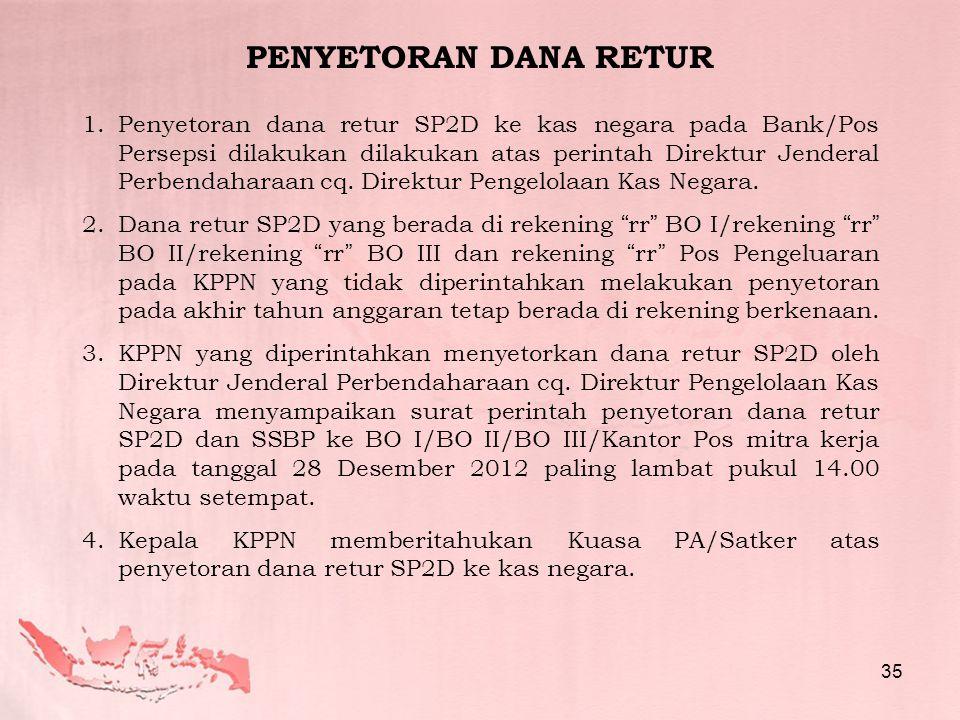 1.Penyetoran dana retur SP2D ke kas negara pada Bank/Pos Persepsi dilakukan dilakukan atas perintah Direktur Jenderal Perbendaharaan cq.