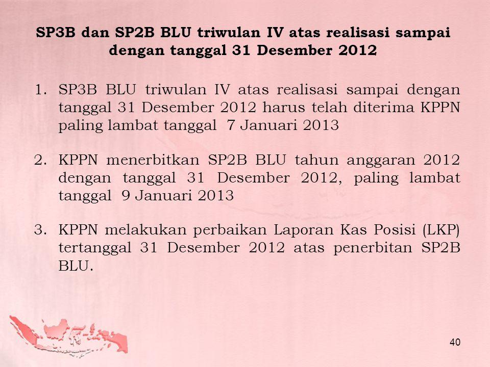 1.SP3B BLU triwulan IV atas realisasi sampai dengan tanggal 31 Desember 2012 harus telah diterima KPPN paling lambat tanggal 7 Januari 2013 2.KPPN men