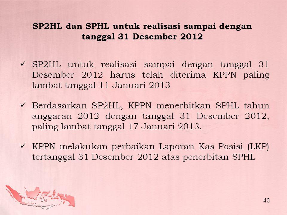  SP2HL untuk realisasi sampai dengan tanggal 31 Desember 2012 harus telah diterima KPPN paling lambat tanggal 11 Januari 2013  Berdasarkan SP2HL, KP