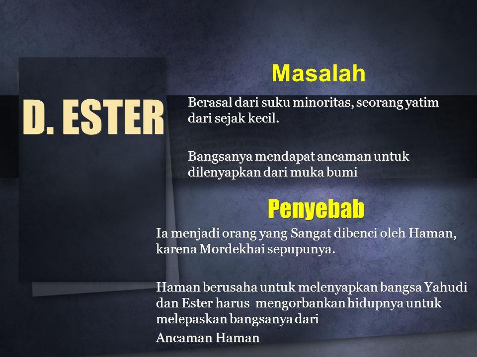 D. ESTER Berasal dari suku minoritas, seorang yatim dari sejak kecil.