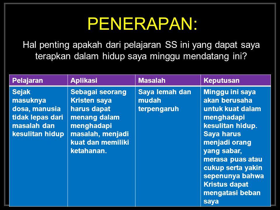 PENERAPAN: Hal penting apakah dari pelajaran SS ini yang dapat saya terapkan dalam hidup saya minggu mendatang ini.
