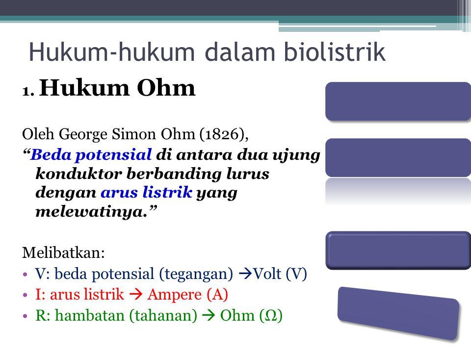 """Hukum-hukum dalam biolistrik 1. Hukum Ohm Oleh George Simon Ohm (1826), """"Beda potensial di antara dua ujung konduktor berbanding lurus dengan arus lis"""