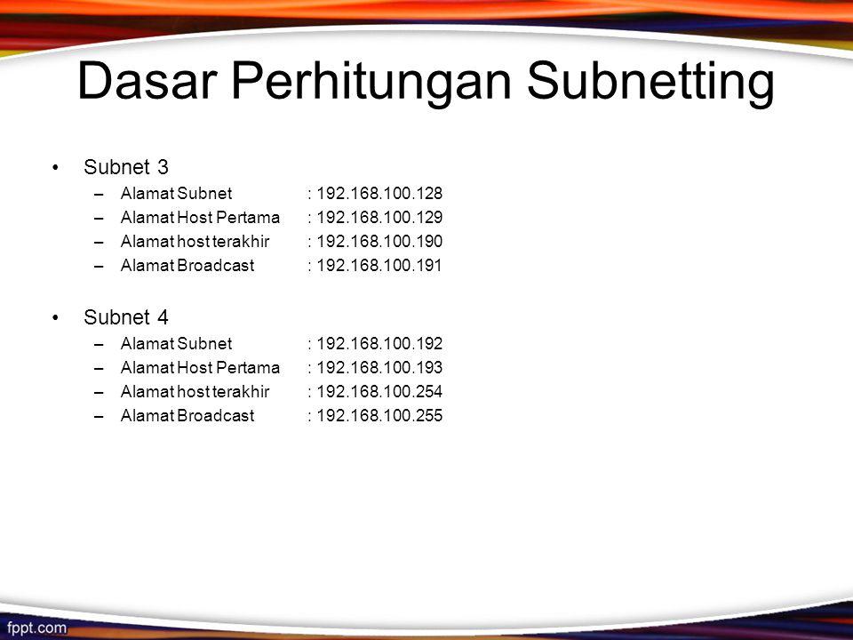 Dasar Perhitungan Subnetting •Subnet 3 –Alamat Subnet: 192.168.100.128 –Alamat Host Pertama: 192.168.100.129 –Alamat host terakhir: 192.168.100.190 –Alamat Broadcast: 192.168.100.191 •Subnet 4 –Alamat Subnet: 192.168.100.192 –Alamat Host Pertama: 192.168.100.193 –Alamat host terakhir: 192.168.100.254 –Alamat Broadcast: 192.168.100.255