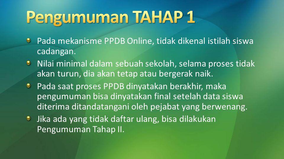 Pada mekanisme PPDB Online, tidak dikenal istilah siswa cadangan. Nilai minimal dalam sebuah sekolah, selama proses tidak akan turun, dia akan tetap a