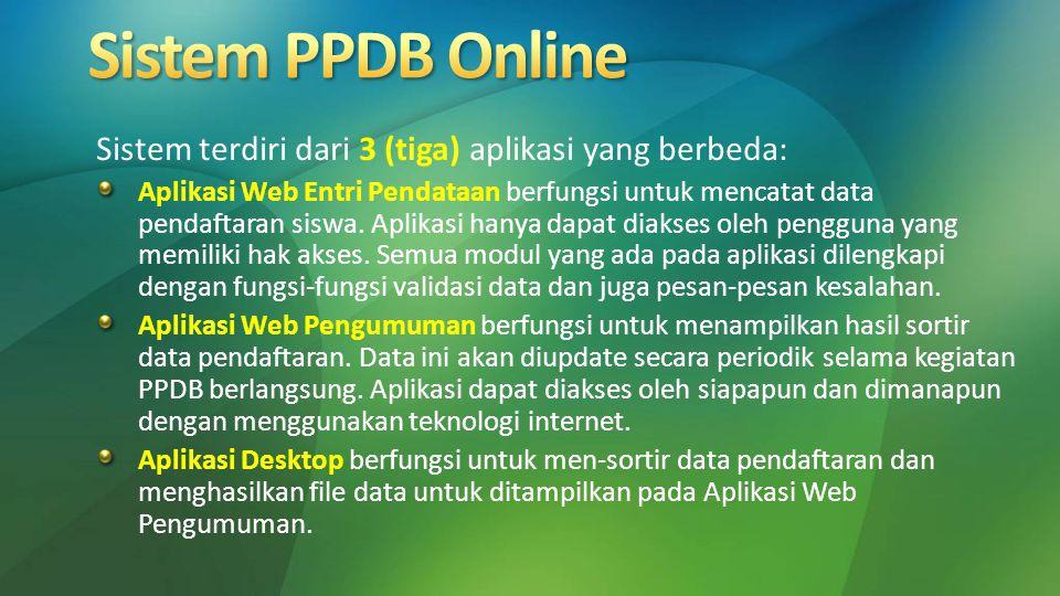 Sistem terdiri dari 3 (tiga) aplikasi yang berbeda: Aplikasi Web Entri Pendataan berfungsi untuk mencatat data pendaftaran siswa. Aplikasi hanya dapat