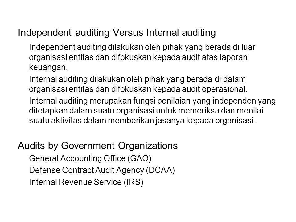 Independent auditing Versus Internal auditing Independent auditing dilakukan oleh pihak yang berada di luar organisasi entitas dan difokuskan kepada audit atas laporan keuangan.