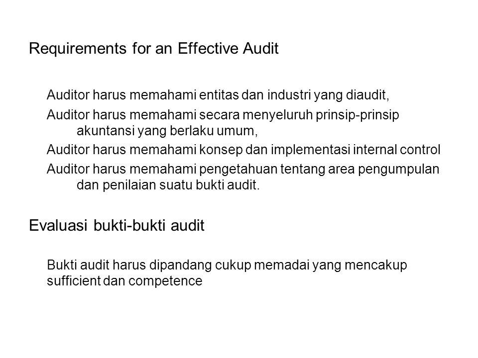 Requirements for an Effective Audit Auditor harus memahami entitas dan industri yang diaudit, Auditor harus memahami secara menyeluruh prinsip-prinsip