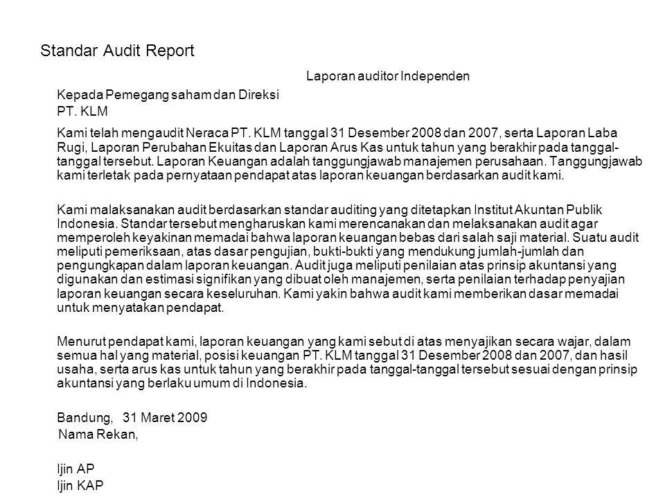 Standar Audit Report Laporan auditor Independen Kepada Pemegang saham dan Direksi PT. KLM Kami telah mengaudit Neraca PT. KLM tanggal 31 Desember 2008