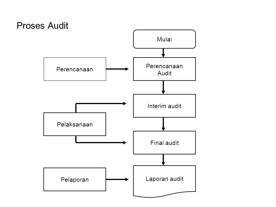Proses Audit Perencanaan Pelaksanaan Pelaporan Final audit Interim audit Perencanaan Audit Laporan audit Mulai