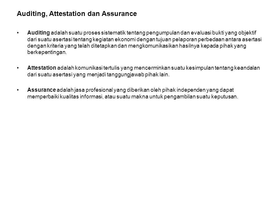 Auditing, Attestation dan Assurance •Auditing adalah suatu proses sistematik tentang pengumpulan dan evaluasi bukti yang objektif dari suatu asertasi
