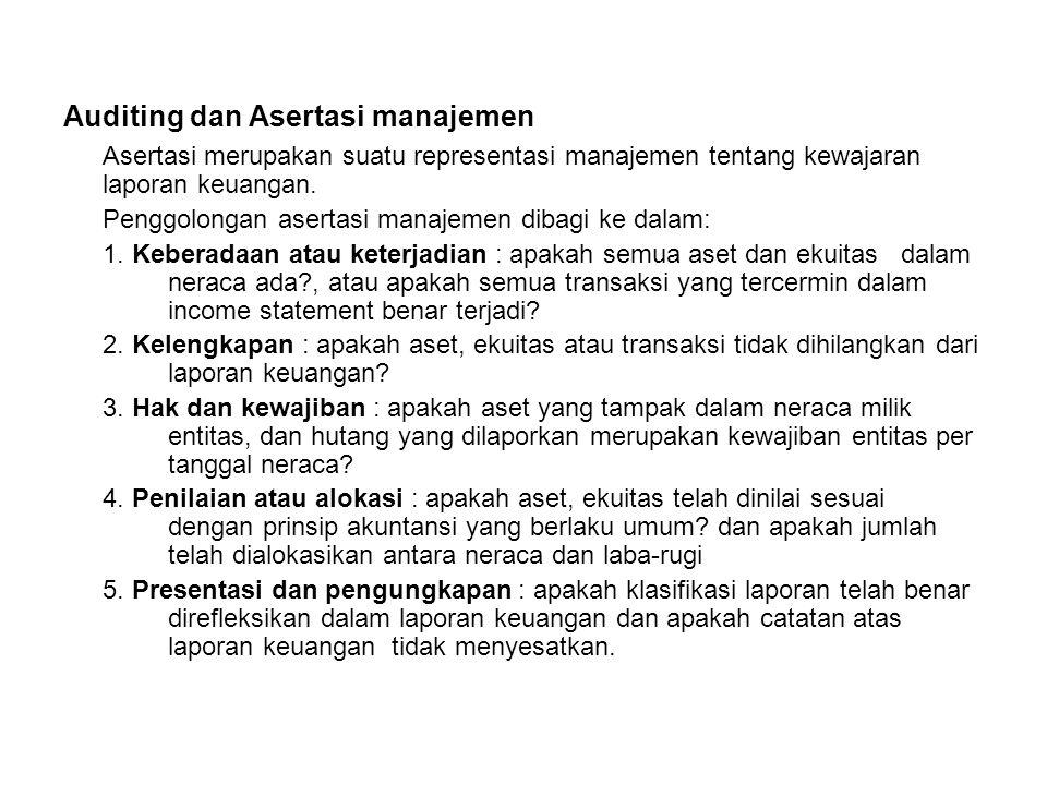 Auditing dan Asertasi manajemen Asertasi merupakan suatu representasi manajemen tentang kewajaran laporan keuangan. Penggolongan asertasi manajemen di