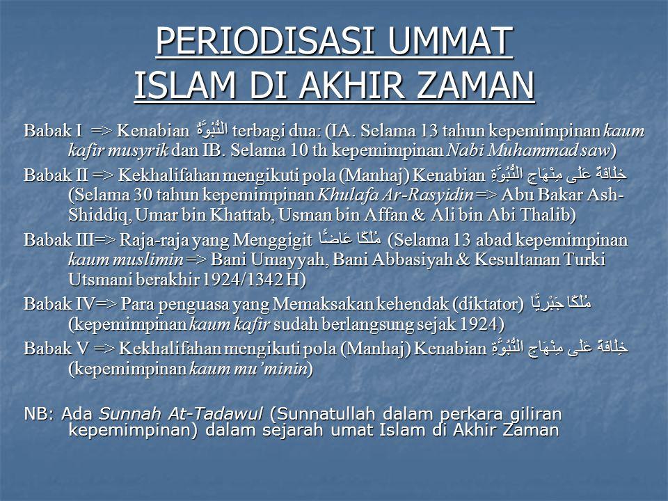 PERIODISASI UMMAT ISLAM DI AKHIR ZAMAN Babak I => Kenabian النُّبُوَّةُ terbagi dua: (IA.
