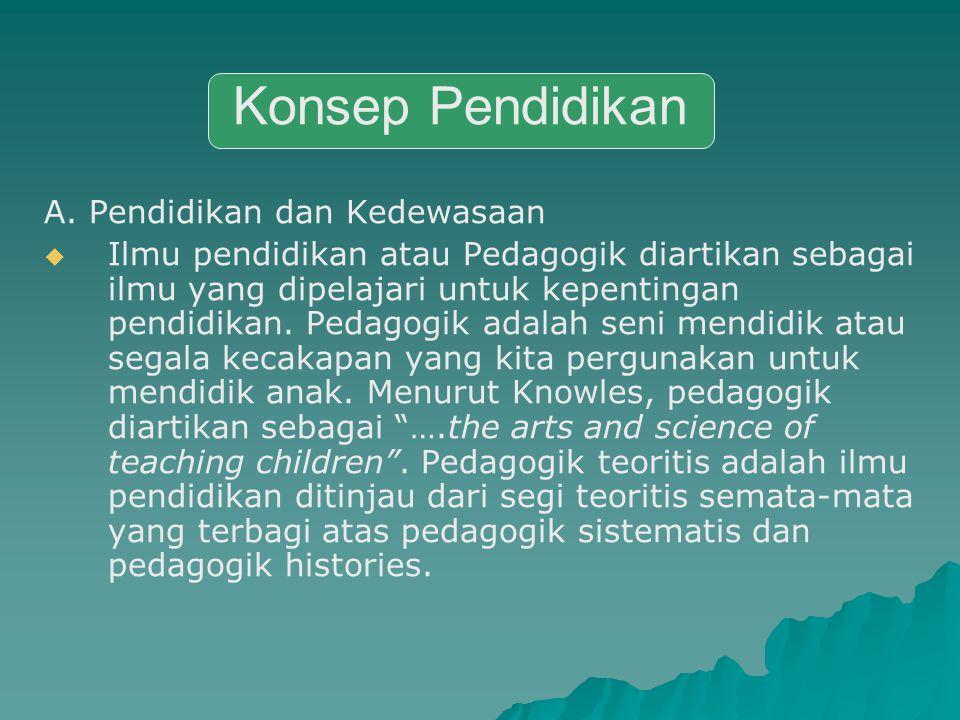 A. Pendidikan dan Kedewasaan IIlmu pendidikan atau Pedagogik diartikan sebagai ilmu yang dipelajari untuk kepentingan pendidikan. Pedagogik adalah