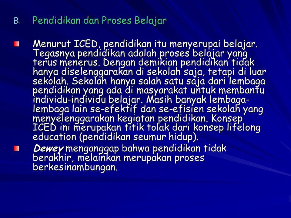 B. Pendidikan dan Proses Belajar Menurut ICED, pendidikan itu menyerupai belajar. Tegasnya pendidikan adalah proses belajar yang terus menerus. Dengan