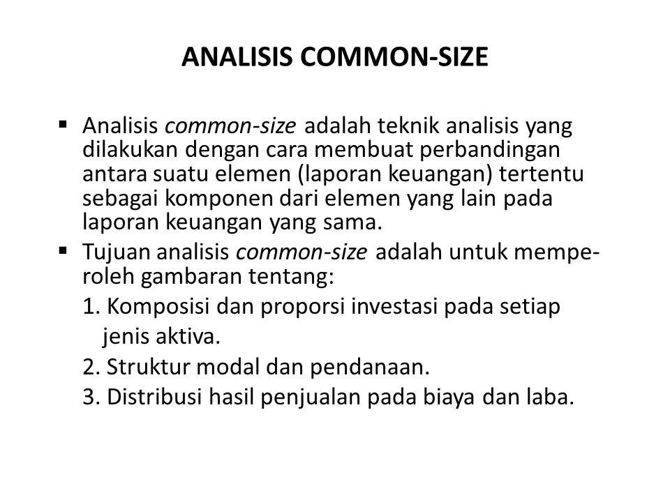 ANALISIS COMMON-SIZE  Analisis common-size adalah teknik analisis yang dilakukan dengan cara membuat perbandingan antara suatu elemen (laporan keuang