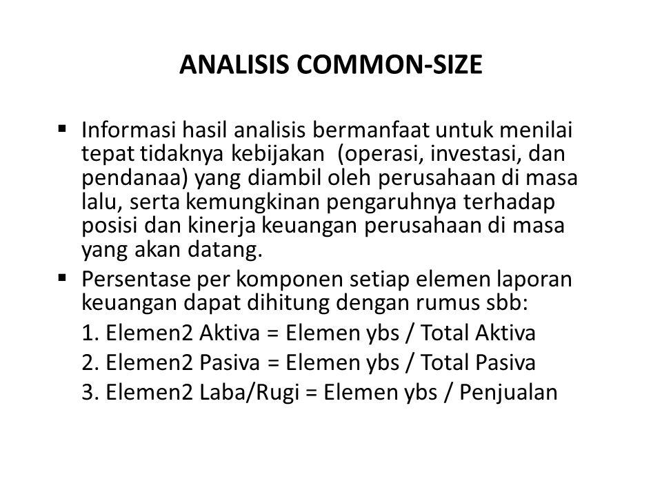 ANALISIS COMMON-SIZE  Informasi hasil analisis bermanfaat untuk menilai tepat tidaknya kebijakan (operasi, investasi, dan pendanaa) yang diambil oleh