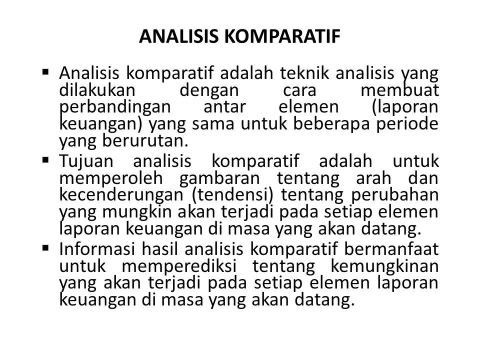 ANALISIS KOMPARATIF  Analisis komparatif adalah teknik analisis yang dilakukan dengan cara membuat perbandingan antar elemen (laporan keuangan) yang
