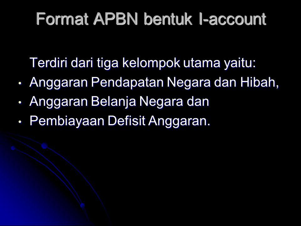 Struktur dan Format APBN APBN dituangkan kedalam suatu struktur dan format yang memuat pengelompokan jenis transaksi berkaitan dengan rencana kegiatan