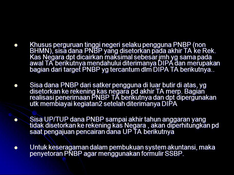  Dalam pengajuan SPM-TUP/GUP/LS PNBP ke KPPN, Satker pengguna harus melampirkan Daftar perhitungan Jumlah MP;  Untuk satker pengguna yang setorannya