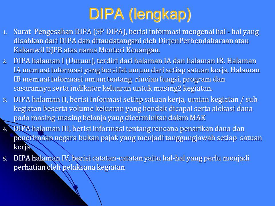 Jenis-Jenis DIPA Jenis-Jenis DIPA a. DIPA Kementerian Negara/Lembaga : 1. DIPA Satker Pusat/Kantor Pusat 2. DIPA Satker Vertikal/ Kantor Daerah 3. DIP