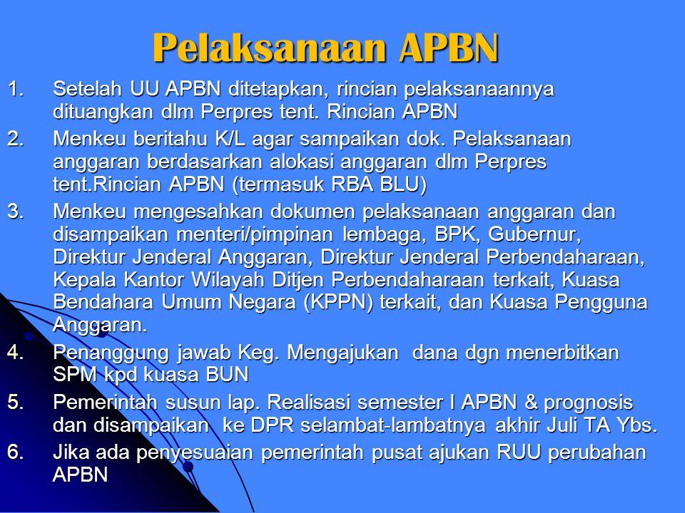 Penyusunan & Penetapan APBN 1.Pemerintah sampaikan pokok2 kebijakan fiskal & kerangka ekonomi kpd DPR (bulan Mei) 2.Pemerintah pusat & DPR bahas kebij