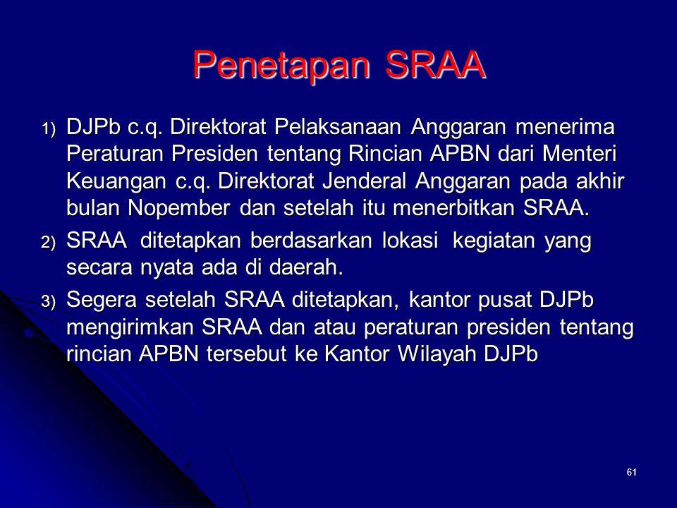 60 PENELAAHAN KONSEP DIPA PUSAT  Khusus untuk DIPA Satker Kantor Pusat Kementerian Negara/Lembaga menbuat konsep DIPA dan disampaikan ke Ditjen PBN c