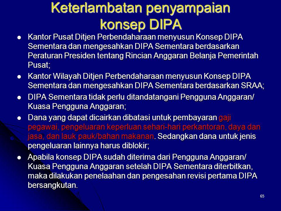 64 Catatan atas hasil penelaahan DIPA 1. Dalam hal sebagian atau seluruh kegiatan DIPA dibiayai dana yang berasal dari Penerimaan Negara Bukan Pajak (