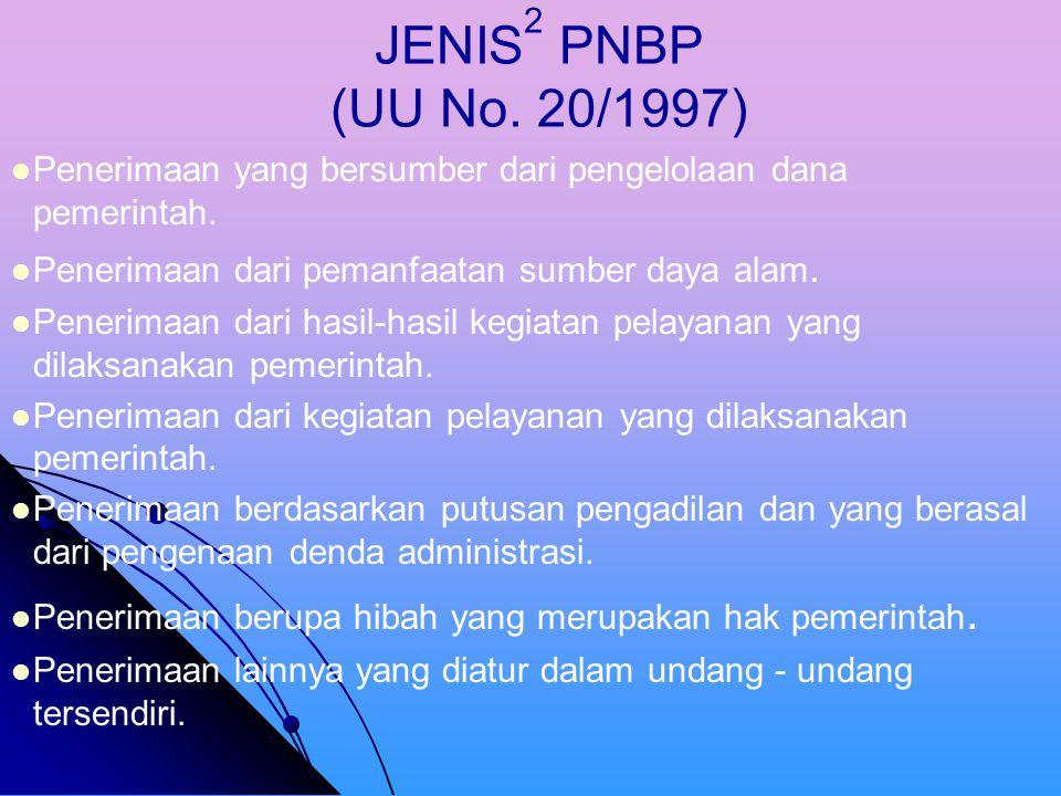 Penerimaan Negara Bukan Pajak (PNBP). adalah seluruh penerimaan pemerintah pusat yang tidak berasal dari penerimaan perpajakan, antara lain sumber day