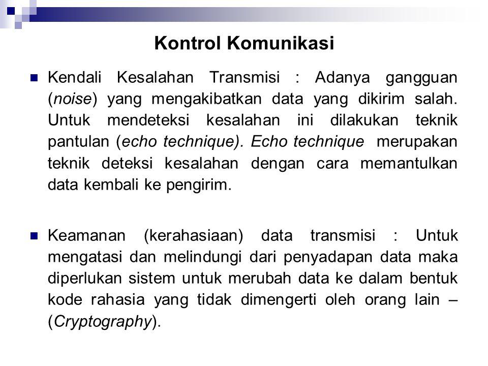 Kontrol Komunikasi  Kendali Kesalahan Transmisi : Adanya gangguan (noise) yang mengakibatkan data yang dikirim salah. Untuk mendeteksi kesalahan ini
