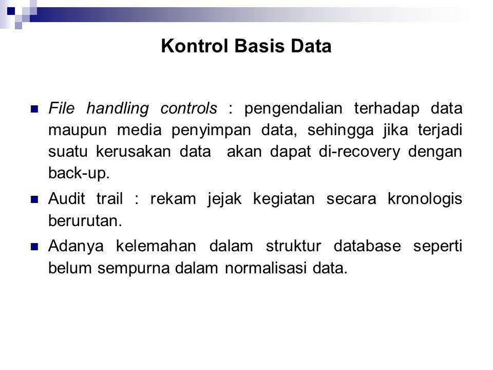 Kontrol Basis Data  File handling controls : pengendalian terhadap data maupun media penyimpan data, sehingga jika terjadi suatu kerusakan data akan