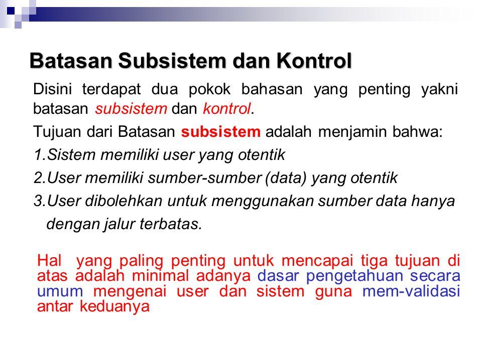 Batasan Subsistem dan Kontrol Disini terdapat dua pokok bahasan yang penting yakni batasan subsistem dan kontrol. Tujuan dari Batasan subsistem adalah