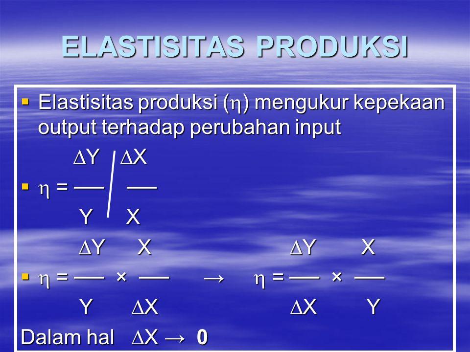  Elastisitas produksi (  ) mengukur kepekaan output terhadap perubahan input  Y  X  Y  X   = ── ── Y X Y X  Y X  Y X  Y X  Y X   = ── × ── →  = ── × ── Y  X  X Y Y  X  X Y Dalam hal  X → 0