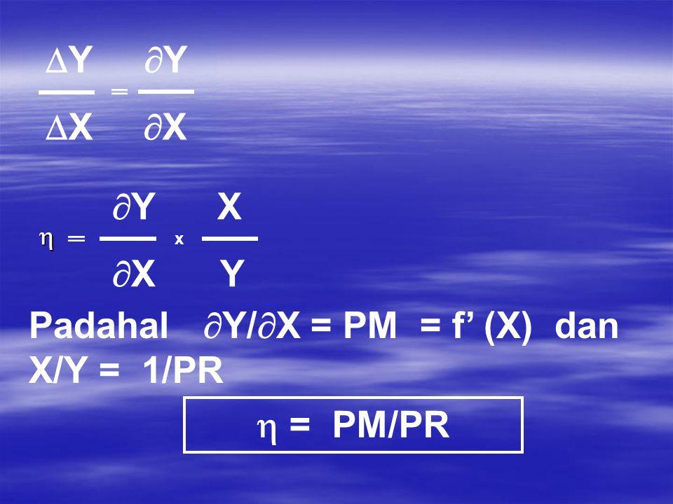 ELASTISITAS PRODUKSI  Y  Y  X  X  Y X  X Y Padahal  Y/  X = PM = f' (X) dan X/Y = 1/PR  = PM/PR  x