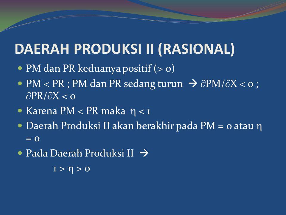 DAERAH PRODUKSI II (RASIONAL)  PM dan PR keduanya positif (> 0)  PM < PR ; PM dan PR sedang turun   PM/  X < 0 ;  PR/  X < 0  Karena PM < PR maka  < 1  Daerah Produksi II akan berakhir pada PM = 0 atau  = 0  Pada Daerah Produksi II  1 >  > 0