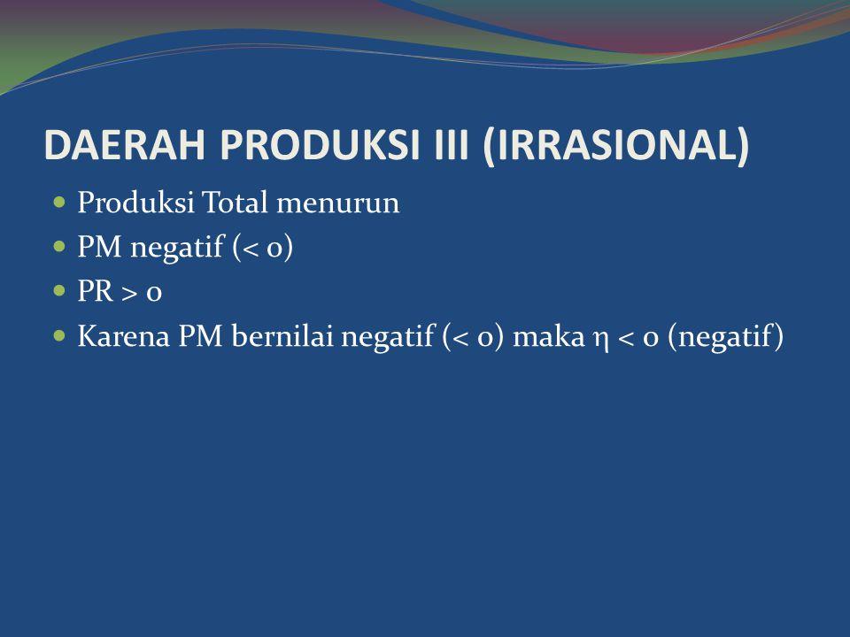 DAERAH PRODUKSI III (IRRASIONAL)  Produksi Total menurun  PM negatif (< 0)  PR > 0  Karena PM bernilai negatif (< 0) maka  < 0 (negatif)