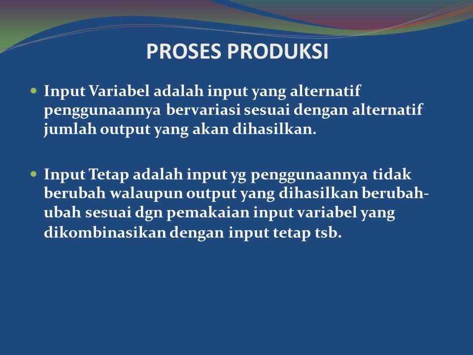 PROSES PRODUKSI  Input Variabel adalah input yang alternatif penggunaannya bervariasi sesuai dengan alternatif jumlah output yang akan dihasilkan.