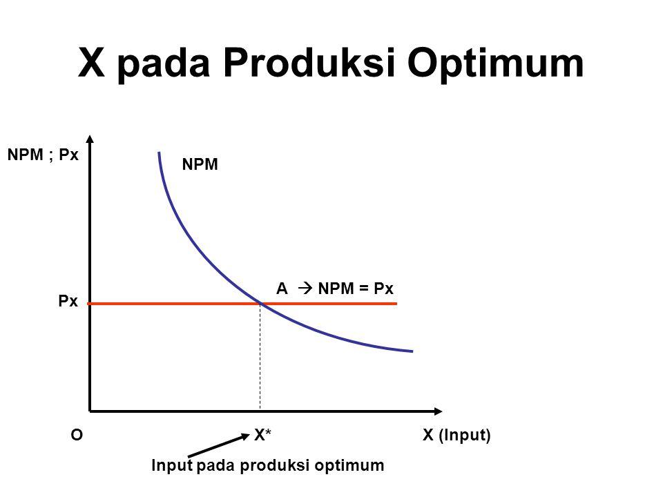 X pada Produksi Optimum X (Input) NPM ; Px O Px A  NPM = Px NPM X* Input pada produksi optimum