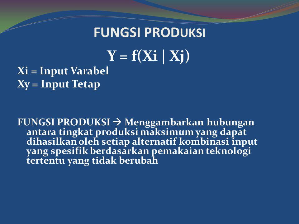FUNGSI PROD UKSI Y = f(Xi | Xj) Xi = Input Varabel Xy = Input Tetap FUNGSI PRODUKSI  Menggambarkan hubungan antara tingkat produksi maksimum yang dapat dihasilkan oleh setiap alternatif kombinasi input yang spesifik berdasarkan pemakaian teknologi tertentu yang tidak berubah