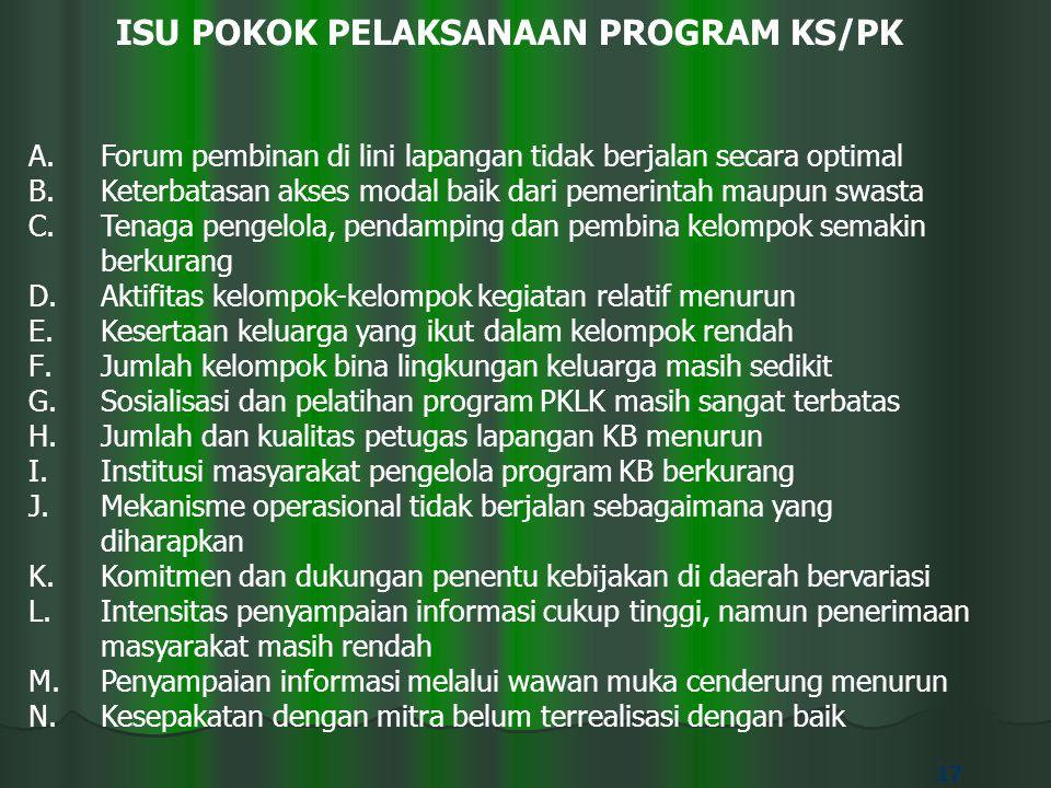 17 ISU POKOK PELAKSANAAN PROGRAM KS/PK A.Forum pembinan di lini lapangan tidak berjalan secara optimal B.Keterbatasan akses modal baik dari pemerintah