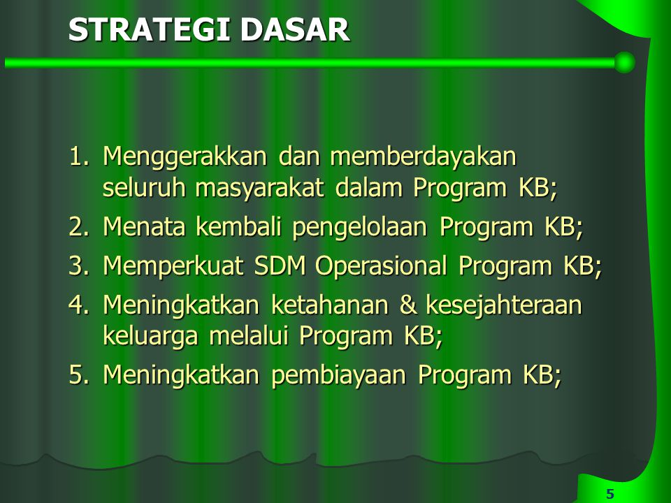 55 STRATEGI DASAR 1.Menggerakkan dan memberdayakan seluruh masyarakat dalam Program KB; 2.Menata kembali pengelolaan Program KB; 3.Memperkuat SDM Oper