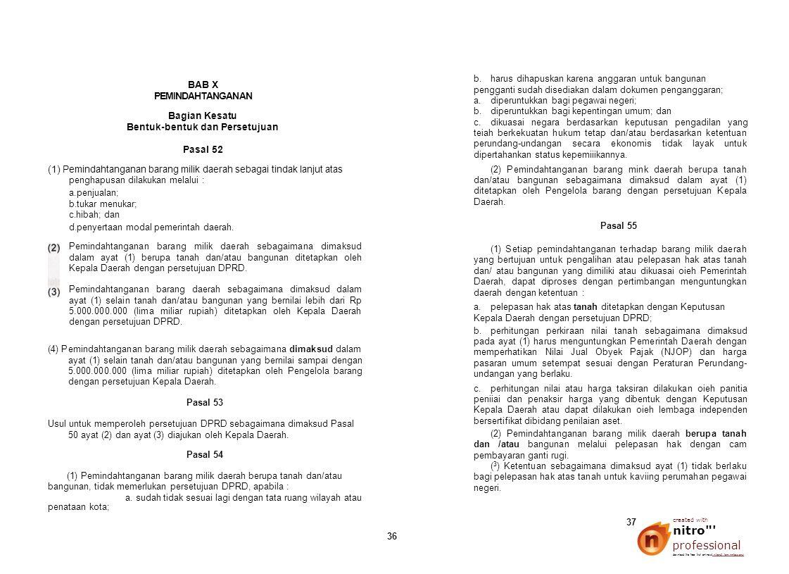 BAB X PEMINDAHTANGANAN Bagian Kesatu Bentuk-bentuk dan Persetujuan Pasal 52 (1) Pemindahtanganan barang milik daerah sebagai tindak lanjut atas pengha