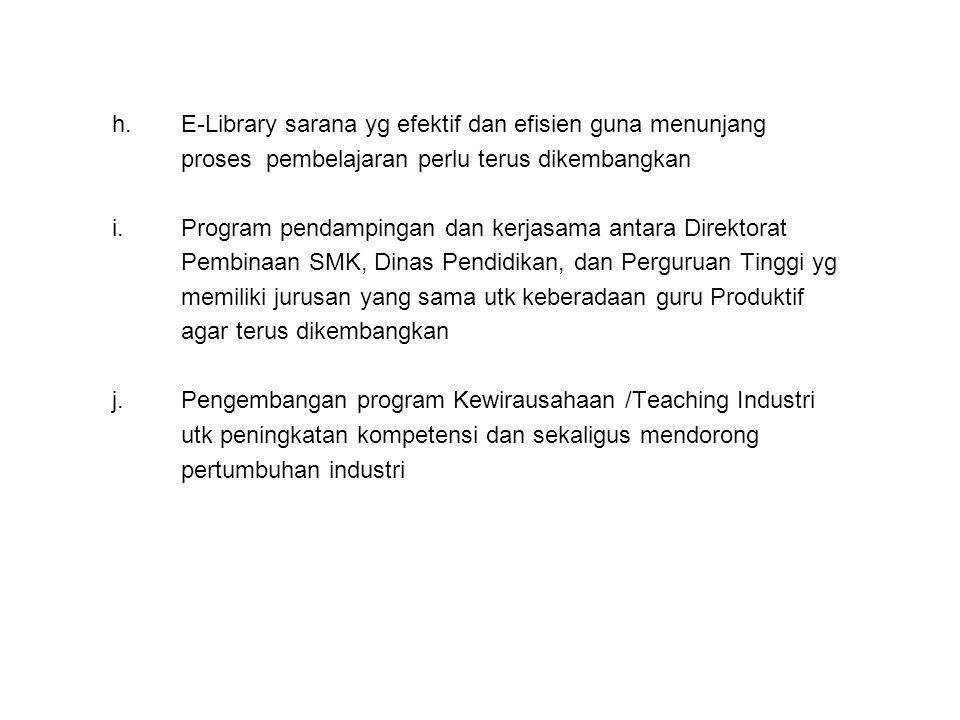 h.E-Library sarana yg efektif dan efisien guna menunjang proses pembelajaran perlu terus dikembangkan i.Program pendampingan dan kerjasama antara Dire