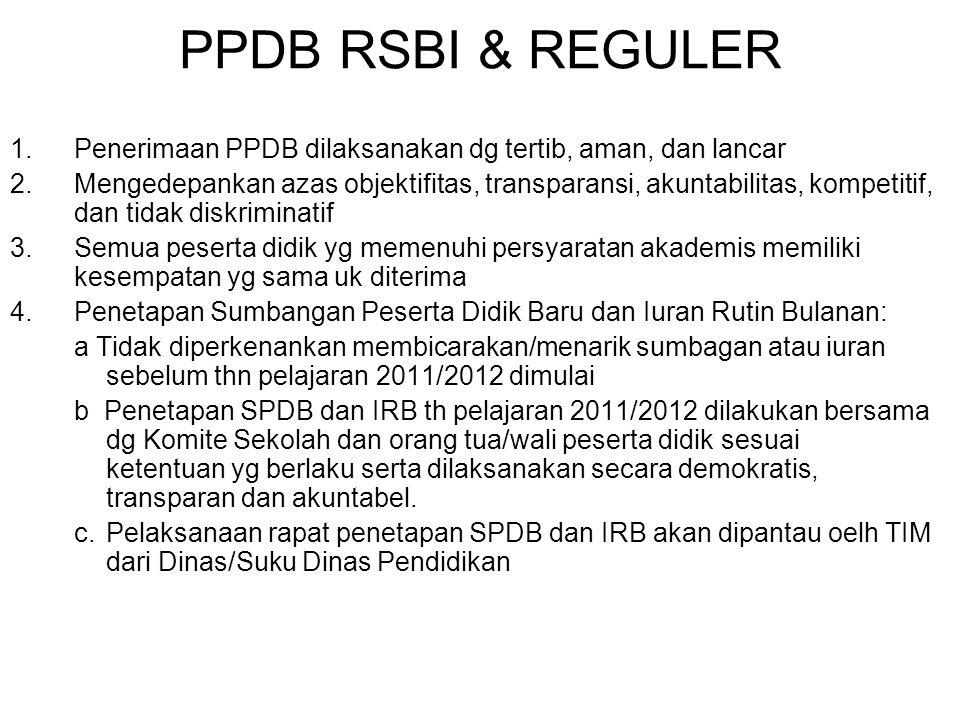 PPDB RSBI & REGULER 1.Penerimaan PPDB dilaksanakan dg tertib, aman, dan lancar 2.Mengedepankan azas objektifitas, transparansi, akuntabilitas, kompeti