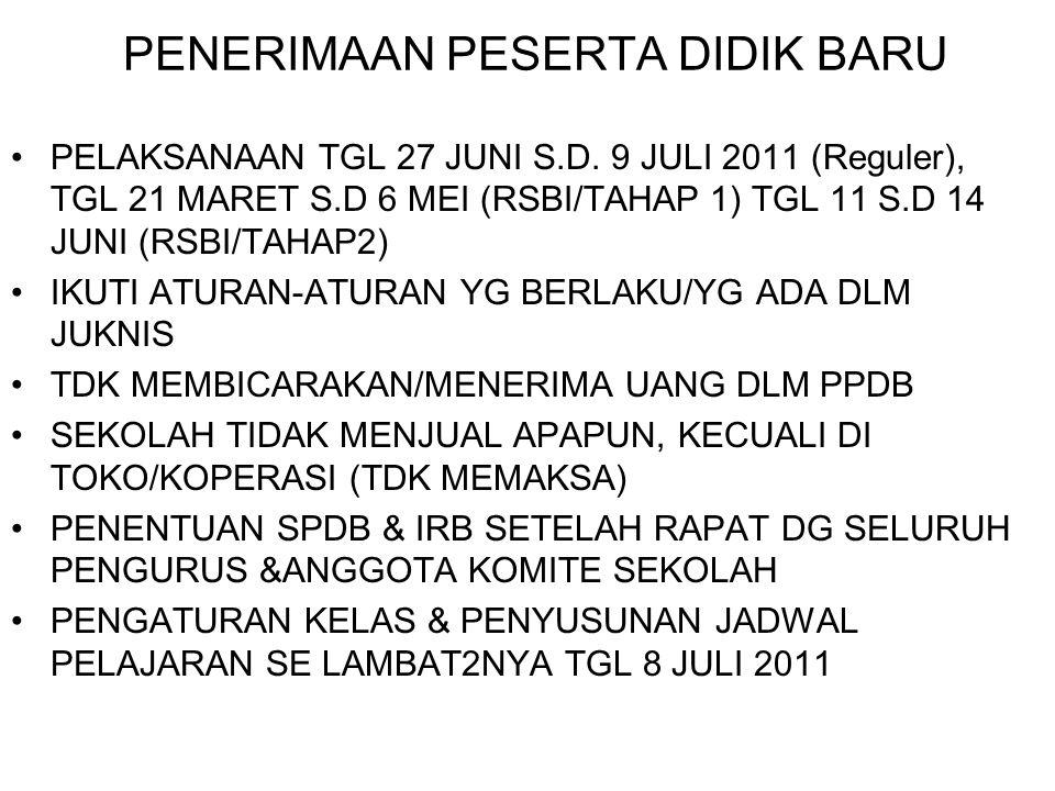 PENERIMAAN PESERTA DIDIK BARU •PELAKSANAAN TGL 27 JUNI S.D. 9 JULI 2011 (Reguler), TGL 21 MARET S.D 6 MEI (RSBI/TAHAP 1) TGL 11 S.D 14 JUNI (RSBI/TAHA