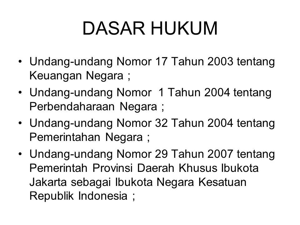 DASAR HUKUM •Undang-undang Nomor 17 Tahun 2003 tentang Keuangan Negara ; •Undang-undang Nomor 1 Tahun 2004 tentang Perbendaharaan Negara ; •Undang-und