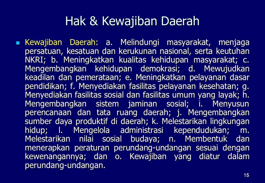 15 Hak & Kewajiban Daerah  Kewajiban Daerah: a. Melindungi masyarakat, menjaga persatuan, kesatuan dan kerukunan nasional, serta keutuhan NKRI; b. Me