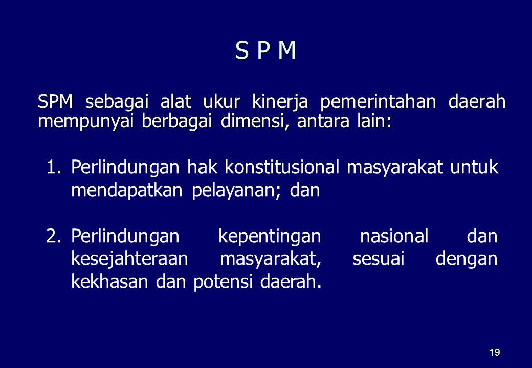 19 S P M SPM sebagai alat ukur kinerja pemerintahan daerah mempunyai berbagai dimensi, antara lain: 1.Perlindungan hak konstitusional masyarakat untuk