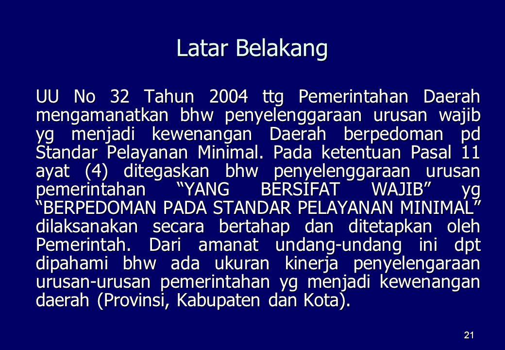 21 Latar Belakang UU No 32 Tahun 2004 ttg Pemerintahan Daerah mengamanatkan bhw penyelenggaraan urusan wajib yg menjadi kewenangan Daerah berpedoman p