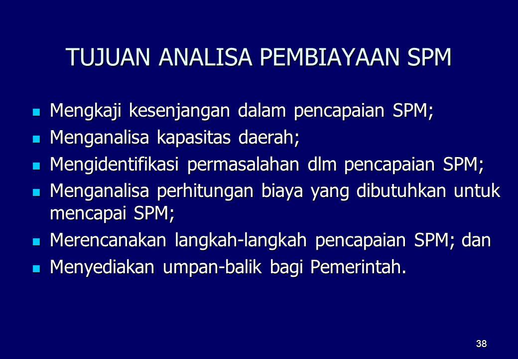 38 TUJUAN ANALISA PEMBIAYAAN SPM  Mengkaji kesenjangan dalam pencapaian SPM;  Menganalisa kapasitas daerah;  Mengidentifikasi permasalahan dlm penc