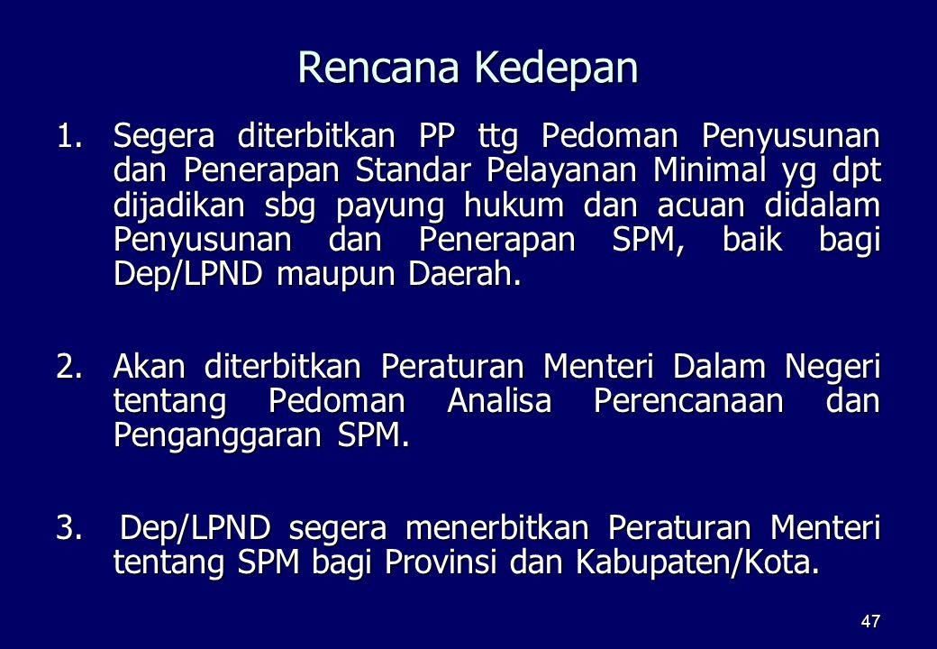 47 Rencana Kedepan 1.Segera diterbitkan PP ttg Pedoman Penyusunan dan Penerapan Standar Pelayanan Minimal yg dpt dijadikan sbg payung hukum dan acuan